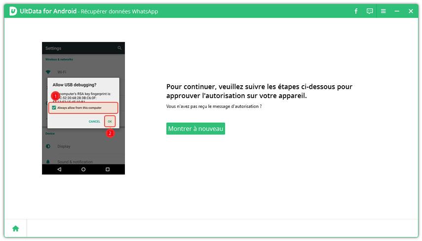 se fier ordinateur pour recuperer whatsapp avec ultdata android