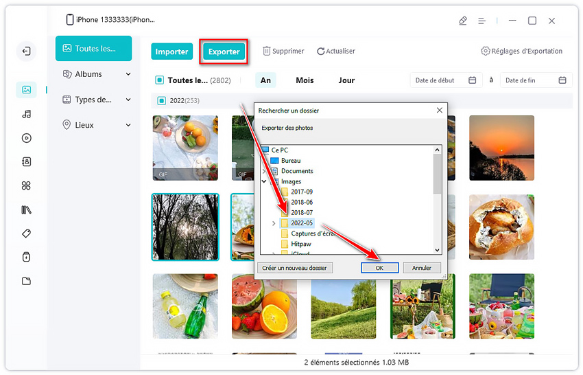 guide exporter des photos