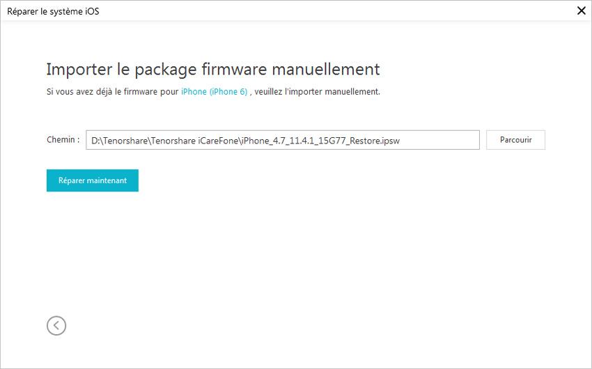 importer firmware dans icarefone