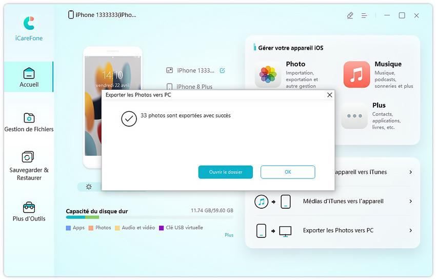 exportation photos avec icarefone