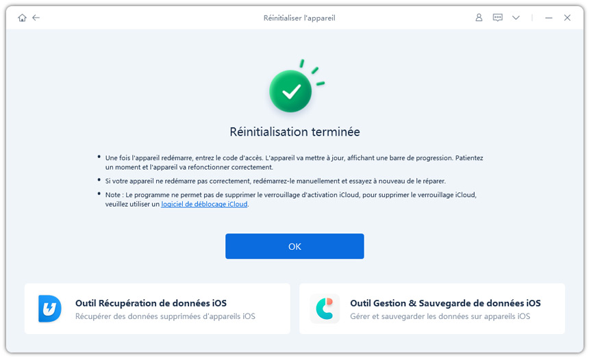 reinitialisation finie avec reiboot pro