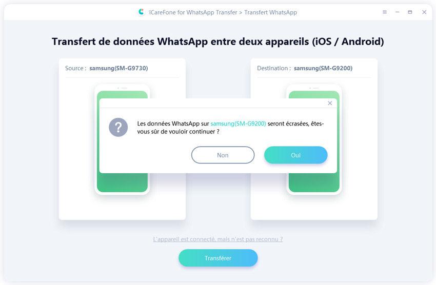 transfert whatsaap entre deux appareils android-écraser