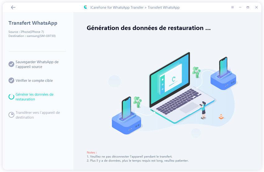 générer les données de restauration avec iCareFone