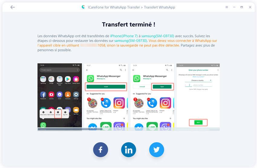 transférer whatsapp d'iphone à android avec succès