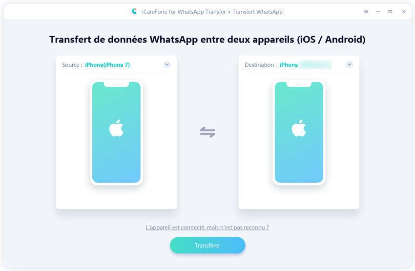 transférer whatsapp d'iphone à iphone avec guide icarefone