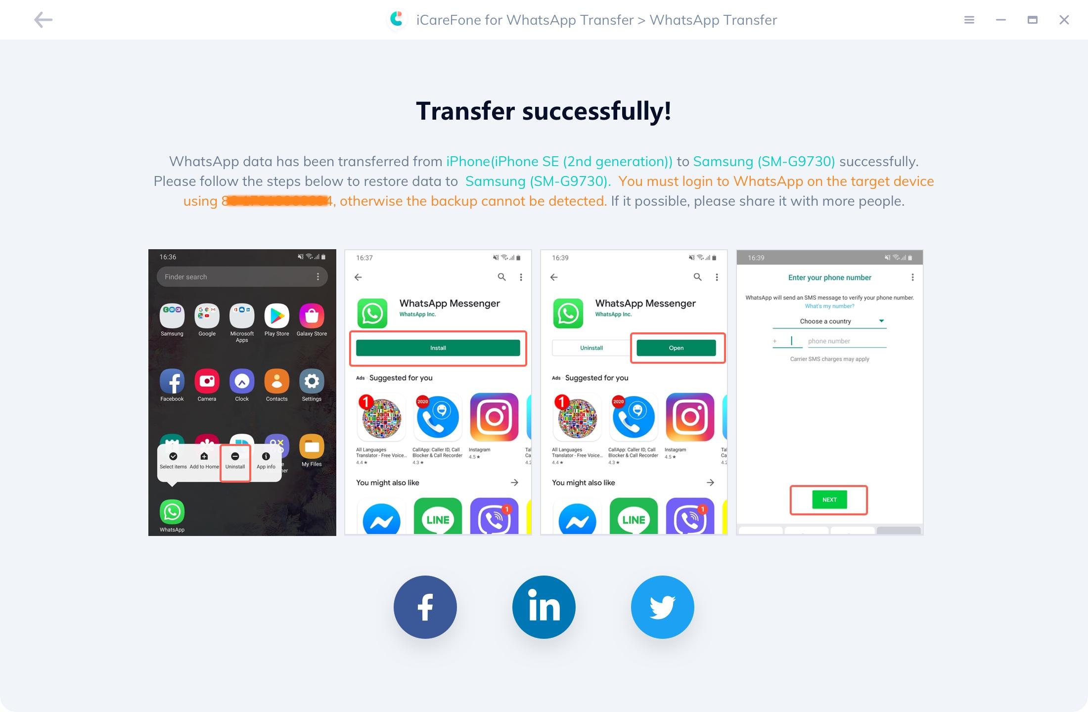 iCareFone Transfert WhatsApp réussi - guide